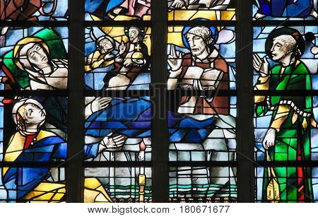 Stained Glass - Jesus Christ At The Deathbed Of Mother Mary
