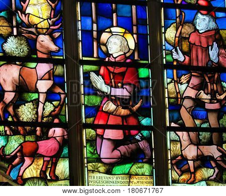 Stained Glass - Saint Hubertus Or Hubert