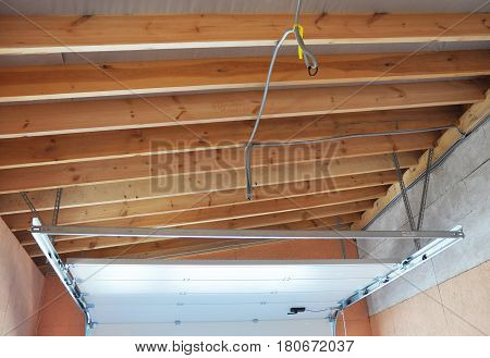 Garage Door Post Rail and Spring Installation Assembly and Garage Ceilling. The most important parts of assembly. Spring tension lifts garage door that the motor does not have to lift entire weight.