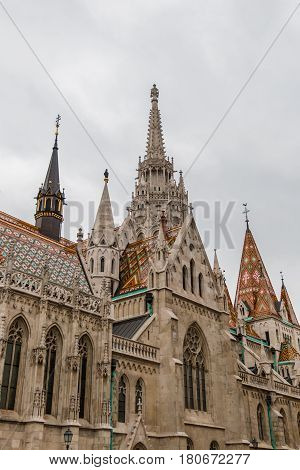 Matthias Church in Buda castle on a cloudy day in Hungary capital Budapest