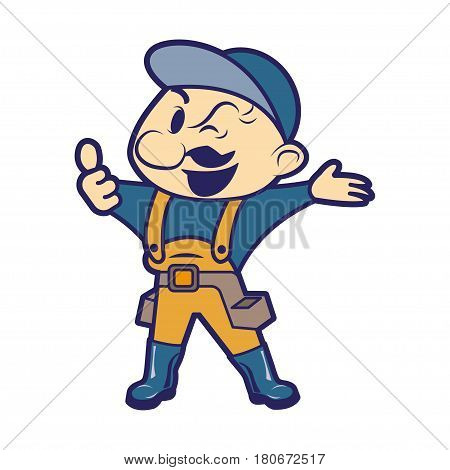 Worker illustration isolated on white background, construction builder character in helmet, workman happy face, engineer repairman person flat cartoon style