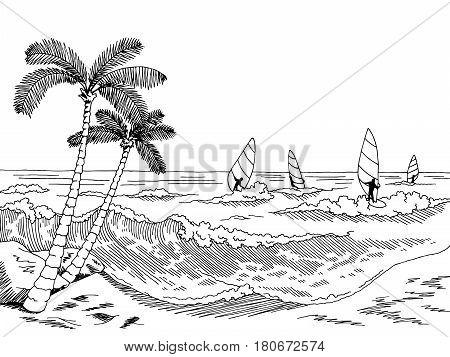 Sea windsurfing graphic black white seascape sketch illustration vector