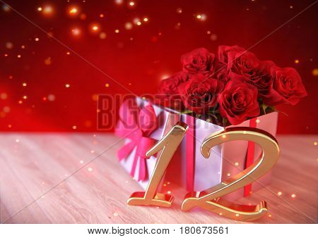 birthday concept with red roses in gift on wooden desk. 3D render - twelfth birthday. 12th