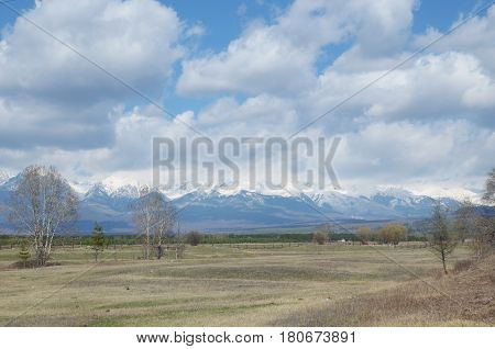 Tunkinskaya Valley In The Spring At The Foot Of Sayan Mountains, Buryatia