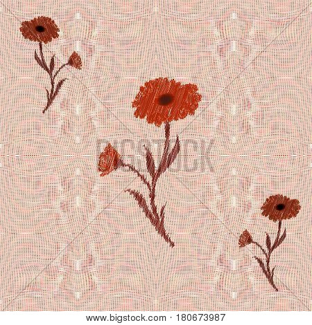 Weave interlace openwork seamless pattern with floral applique