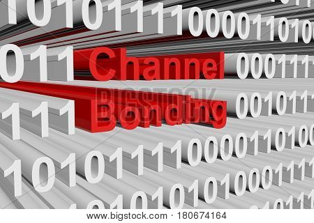 Channel bonding in the form of binary code, 3D illustration