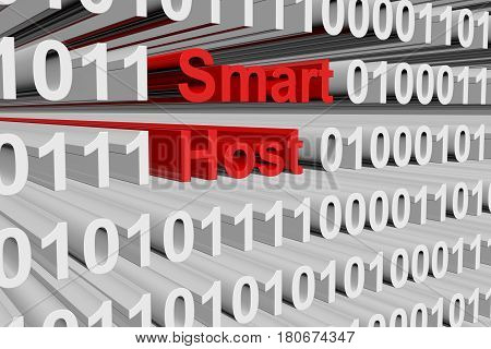 Smart host in the form of binary code, 3D illustration