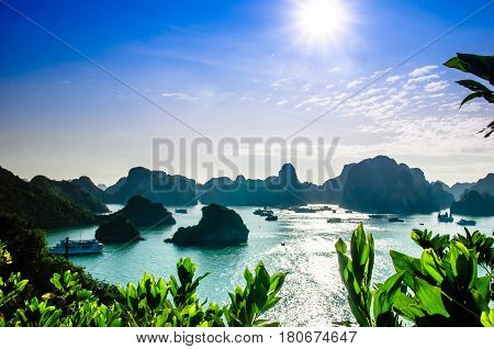 View on limestone Islands by Halong bay in Vietnam