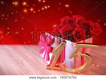 birthday concept with red roses in gift on wooden desk. 3D render - fifteenth birthday. 15th