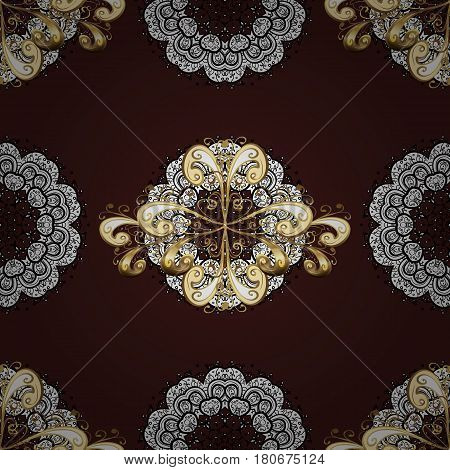 Golden pattern with white doodles on brown background with golden elements. Seamless golden pattern. Vector oriental ornament.