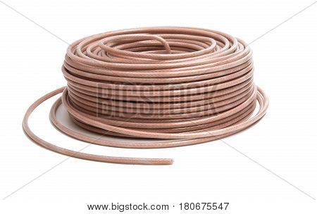 Coaxial cable wire isolated on white background