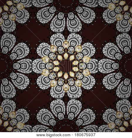 Christmas snowflake new year. Seamless vintage pattern on brown background with golden elements and with white doodles.