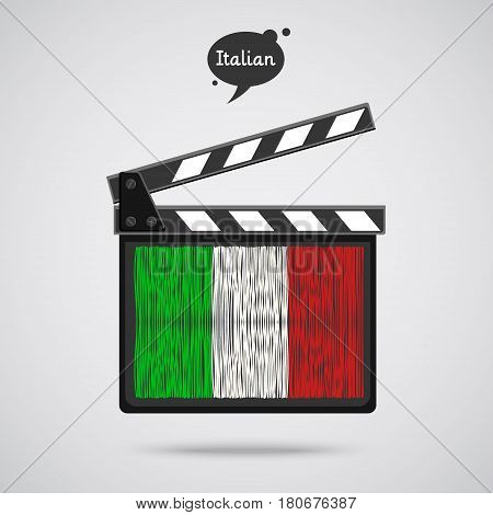 Concept of learning languages. Study Italian. Movie production clapper board with hand drawn Italian flag. Film in Italian.
