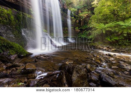 Russell Falls is located in Mount Field National Park, Tasmania, Australia.