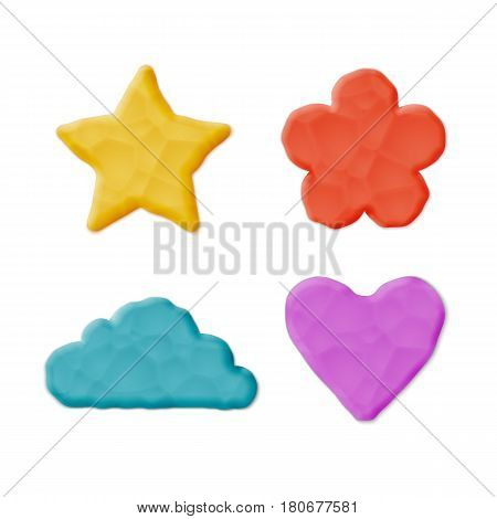 Vector Photo Realistic Plasticine Clay Shapes Set. Quality Close Up View. Heart, Cloud, Flower, Star.