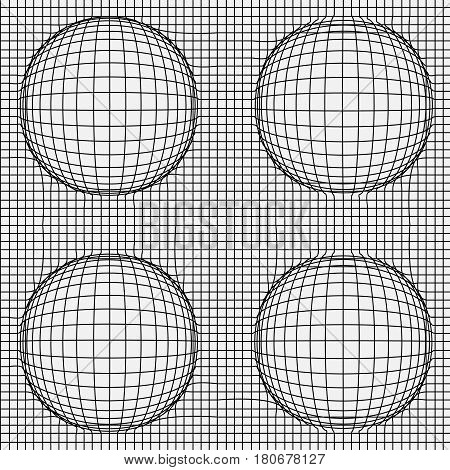 Grid of distorted dynamic lines with Spheres. Black and white. Vector seamless background.