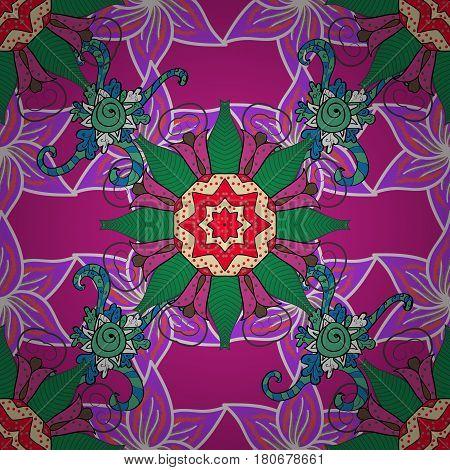 Vector illustration. Decorative design element filigree calligraphy. Retro pattern antique style acanthus. Vintage baroque mandala ornament on colorful background.