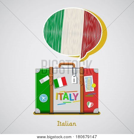 Concept of travel to Italy or studying Italian. Hand drawn Italian flag in speech bubble above suitcase with Italian symbols.