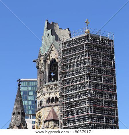 Steeple and belfry of the Kaiser Wilhelm Memorial Church in Berlin the German capital