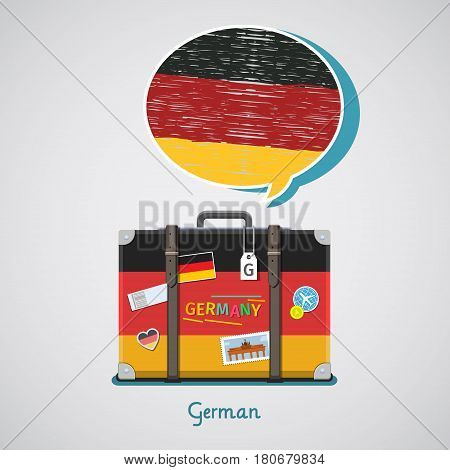 Concept of travel to Germany or studying German. Hand drawn German flag in speech bubble above suitcase with German symbols.