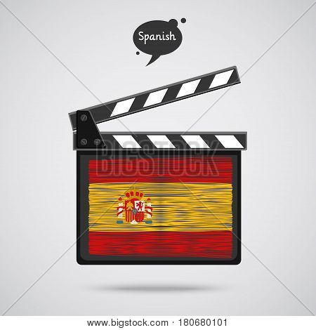 Concept of learning languages. Study Spanish. Movie production clapper board with hand drawn Spanish flag. Film in Spanish.