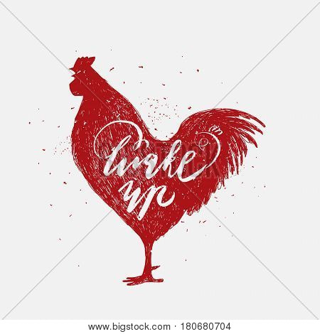 Wake up. Hipster vintage design. Hand drawn red rooster on white background.