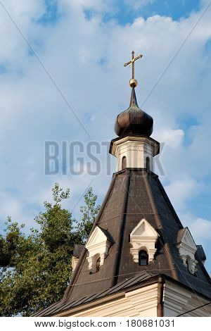 Bell tower in the Baroque style of The Church of Mykola Dobry or Nicolas Good in Podil. Historical center of Kyiv, Ukraine