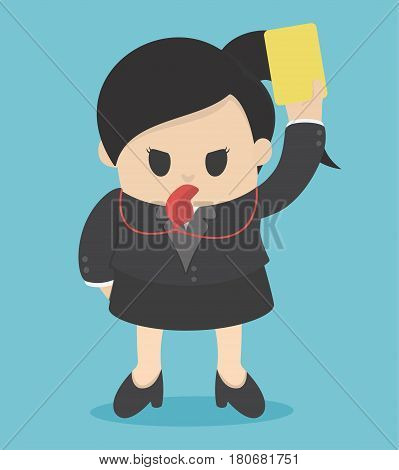 business woman Showing yellow card concept for bad business practice
