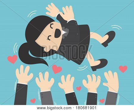 Cartoon character Colleagues toss up successful businessman vector