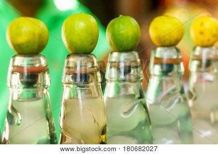 Bottles of locally made banta, an indian made soft drink that is very popular in the summer months. This is healthy, refreshing and cheap