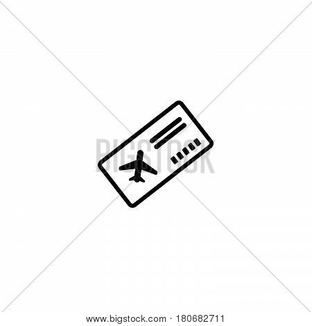 Boarding Pass Thin Icon Illustration Part Of Travel Icons Set. Vector. Isolated On White Background.