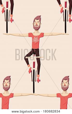 Hipster man riding a bike without holding the handlebars. Feel the Summer. Calligraphic retro vector illustration.
