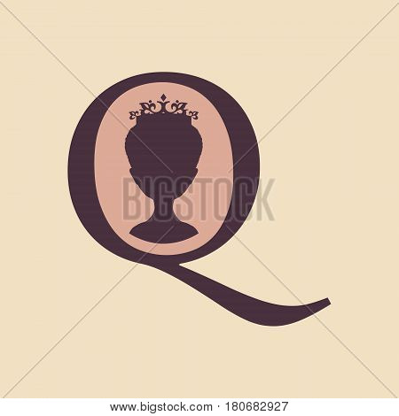Vintage queen silhouette. Medieval queen profile. Elegant silhouette of a female head. Vector Illustration. Short hair. Monochrome gamma. Royal emblem with Q letter