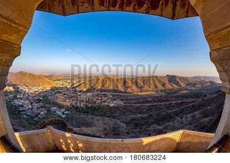Framed View Of The Impressive Landscape And Cityscape From Above At Amber Fort, Famous Travel Destin