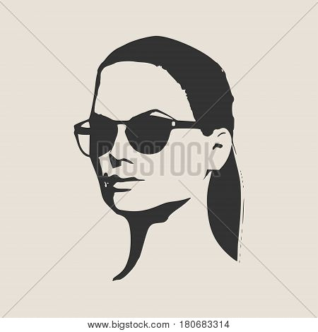 Portrait of beautiful woman in black sunglasses. Pony tail hairstyle. Vector version. Half turn view