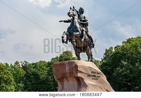 Equestrian statue of Russian Emperor Peter the Great (Bronze Horseman) in Saint-Petersburg Russia. Opened in 1782. UNESCO World Heritage Site