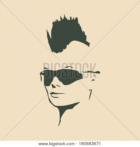 Face half turn view. Elegant silhouette of a female head. Vector Illustration. Mohawk hair style. Monochrome gamma.