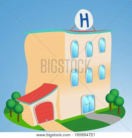 Cartoon style Hospital front enterance, issolated illustration