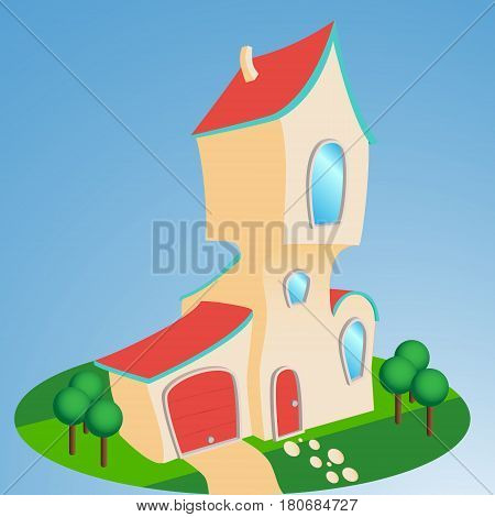 Cartoon style House front enterance, issolated illustration