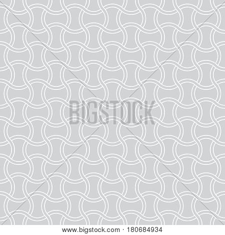 Vector seamless pattern. Modern stylish texture with intersecting thin waved lines which form regularly repeating tiled linear grid. Abstract geometric background