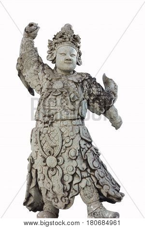 ancient chinese stone sculpture doll isolated on white