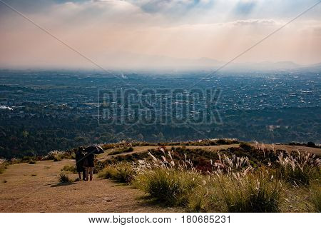 Unidentified women enjoying the view of Nara city from the top of Mount Wakakusayama Nara Japan