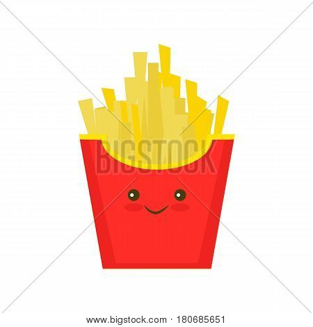 Fast food, Kawaii French fries, tasty street food. French fries in paper box, isolated flat design. French fries fast food in a red package.