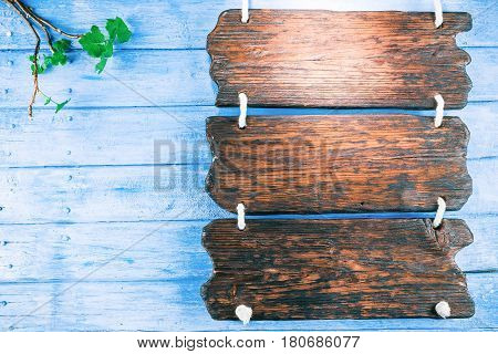 Triple signboard on ropes as menu on blue painted wood with green twig. Top view
