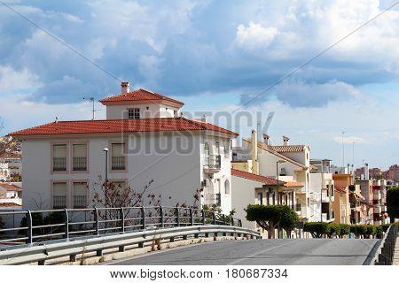 City street view in Malaga Andalusia Spain. Popular touristic european destination. Malaga city view