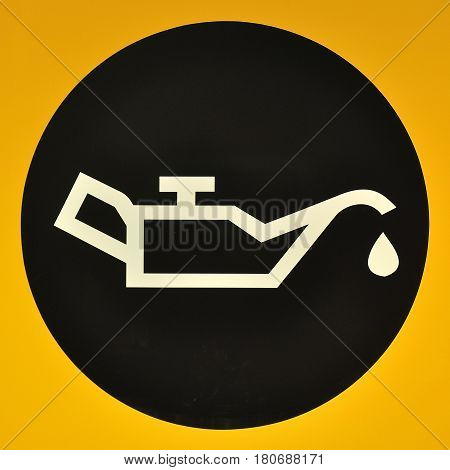Fuel checking sign and symbol on yellow background
