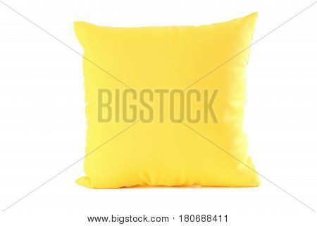 Yellow pillow isolated on a white background
