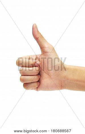 hand make good sign isolated on white background