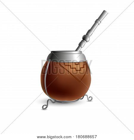 Isolated colored realistic brown calabash for yerba mate paraguay tea with prop and metal syphon stick bombilla with shadow on white background