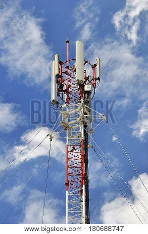 Telephone pole with blue sky for communication system